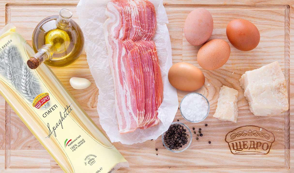 Паста Спагеті Карбонара, інгредієнти